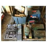 Pallet of tool box, tools, lantern, misc