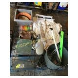 Pallet of planters, tools, stand, misc