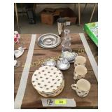 Plates, cups, candle holders, misc
