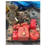 Pallet of chains, gas cans,wire, misc