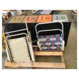 File cabinet, lawn chairs