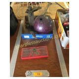 Bowling ball, Model T jack, tools