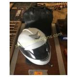 Motorcycle helmet(L), bowling ball
