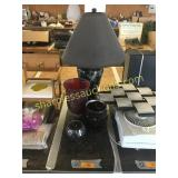 Table lamp, candle, misc
