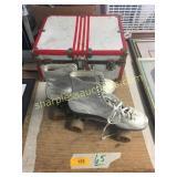 Roller skates, old suitcase/trunk