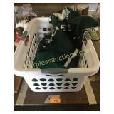 Robe, laundry basket