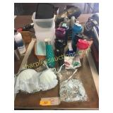 Blender bottles, plastic containers, misc