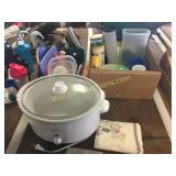 Rival slo cooker, plasticware, misc