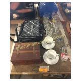 Insulated casserole bag, stemware, misc
