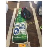 Rolling Rock Beer metal sign, bb glove
