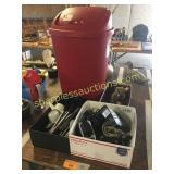 Kitchen utensils, cords, trash container, toy