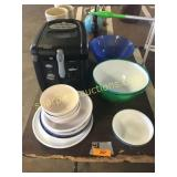 Rival air fryer, dishes, bowls
