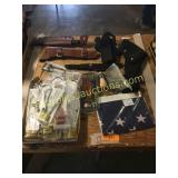Child safety locks, knives/holsters, flag, misc