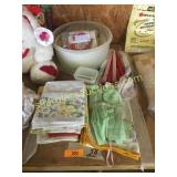Bedding, candles, kitchen items