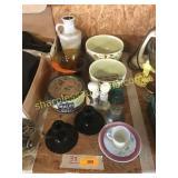 Bowls, candlesticks, misc