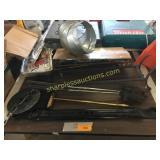 Cast iron damper, fireplace tools, wall bracket