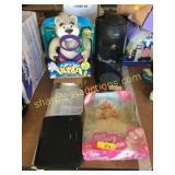 Barbie, firetruck, Krups coffee maker, toys