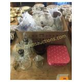 Glass table lights, ladies hankies, glassware