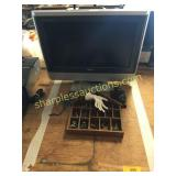Toshiba tv, pewter items, misc