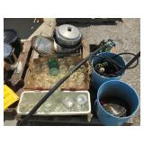 Canning jars, saw blades, pump, misc