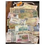 Trayfull of foreign notes
