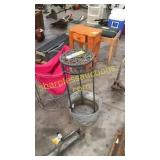 Metal bucket, plant stand