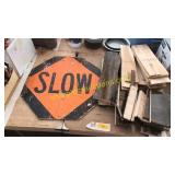 Slow sign, wood pieces