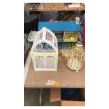 Doll house, bird cages, misc