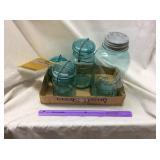 (4) Glass Jars (Green)