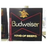 "Lighted BUDWEISER Sign 18""x18"" (works)"