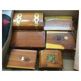(6) Wood Boxes & Leather Calendar
