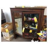 Wood Cabinet W/glass & Mirror Doors