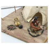 """Native American Indian Camp Scene 12""""x12"""""""
