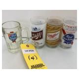 (4) Labeled Beer Glasses