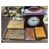 (4) Wood boxes & Clock