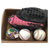 Mizuno Baseball Glove & (3) Baseballs
