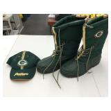 Green Bay Winter Boots sz.8 & Hat