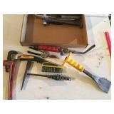 Pipe wrench, slag hammer, brush & more