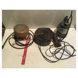 Tank heater, water hose & sump. Pump