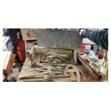 Vintage Wood Tool Box Chest With Contents