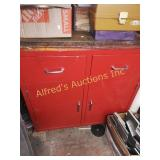 Red metal tool cabinet