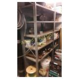 Double sided metal shelving two units bolted