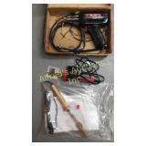 Soldering gun, two electric soldering irons.