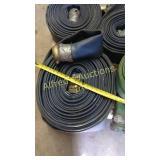 Large roll of blue flat hose
