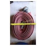 Red flat hose with couplers
