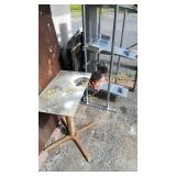 Metal lot including stainless steel shelving