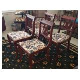 4 Lyre Upholstered Bottom Side Chairs