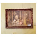 Renaissance Style Picture on Board in Gold Color