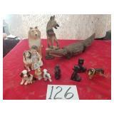 Wood Carved Alligator & Ceramic Dogs