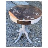 Antique drum side table -40 lion head pull, no